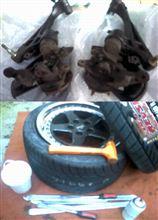 オレンジャ~号 ECR33中古ナックル購入!&タイヤ手組み120129