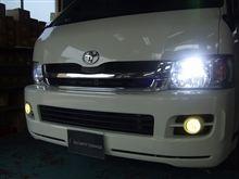 兵庫県 姫路市 セキュリティラウンジ姫路様  ハイエースにヘッドライト&フォグにHID取り付けです