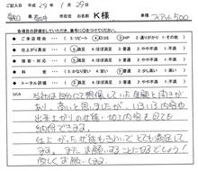 お客様の声をいただきました。 FIAT フロントスポイラー加工 愛知県豊田市 倉地塗装 KRC