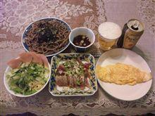 鰹の刺身+プレーンオムレツ+お蕎麦