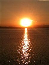 浜名湖  夕陽   ひとり