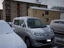 広島は雪、スタッドレスで良かった。