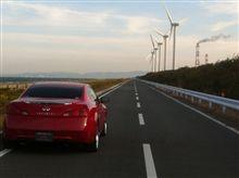 伊良湖の風車と直線道路