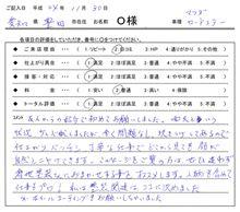 お客様の声をいただきました。 ロードスター ガラスコーティング 愛知県豊田市 倉地塗装 KRC