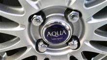 冬用タイヤで付けてる「AQUA」名入りの「アルミ」を、夏タイヤへ換装♪