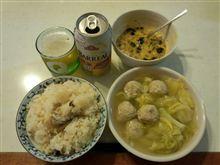 炊き込みご飯+肉団子スープ