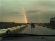 雷雨と夕日と風と虹