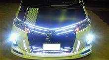 今日の 車 弄り フロント ボンネット周りに LED WHITE テープを一周 回しました