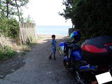 バイク! 海ー!