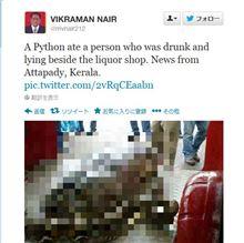 酔っぱらいがヘビに丸呑みされる事件がインドで発生