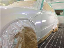 オートサロン!!セルシオ、今しがた塗り上がりました♪ブログの内容はパテ研ぎでーす!