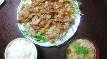 生野菜たっぷり豚生姜焼き・・・