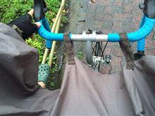 ポンチョで自転車