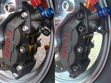 PCX169レース車両、Fブレーキ制動力アップ検証