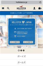 HOLLISTER 正規サイト、円建決済、送料500円