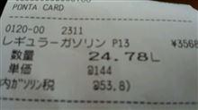 11月29日レギュラーガソリン給油 価格144円