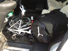ジュニアの試合観戦オデやんで出動(^ー^)ノ折り畳み自転車は必需品です