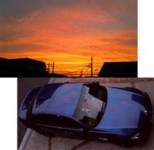 夕映 ルマンブルーに夕焼けが映える。