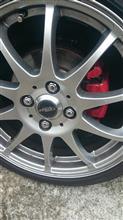 ブレーキパット交換と赤塗装