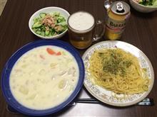 クリームシチュー+ペペロンチーノ