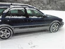 今シーズン初の雪踏み