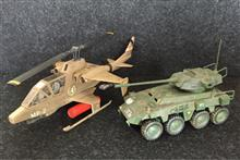 1/72ヘリコプターと8輪装甲車