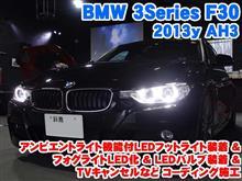 BMW 3シリーズ(F30) アンビエントライト機能付LEDフットライト装着&フォグライトLED化&LEDバルブ装着とコーディング施工