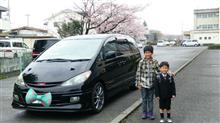 新一年生エスティマくんと桜と一緒に記念撮影!