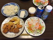 鶏肉の唐揚げ+フライドポテト+冷麦