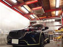 新車のマツダCX-3に親水性のセラミックシールド1層コートを施工いたしました。