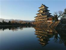 大晦日の夕陽に照らされる松本城
