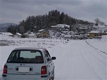 雪の温泉ドライブ。