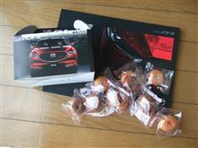 CX-5のドーナツ&カタログと、仏花。