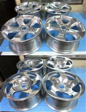 BMW純正とWC海外製鋳造ホイールのIバレル2次元研磨パウダークリアー