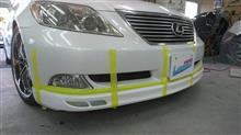 『トヨタ レクサス LS 社外フロントスポイラー塗装・取り付け等』埼玉県よりご来店のお客様です。