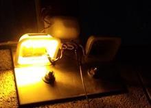 廃材利用のガレージ自動照明