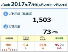 新型PHV 7月従量電灯での燃費を計算 編