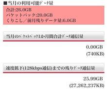 今月の利用可能データー量は26.0GB。