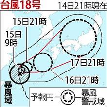 台風18号、進路を東寄りに変え列島縦断か!?