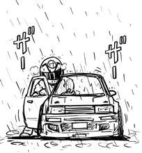 深夜 雨の中にハチロクを押す男。(48歳)笑