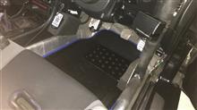 インテグラ ANS アルミ合金製フットレストプレート(ブラック)  + カーボン調フロアマット(ブルー)