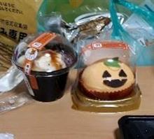 ラストハロスイ🍰、セブンの和パフェとかぼちゃケーキ( *´艸)