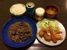 すき焼き+海老フライ
