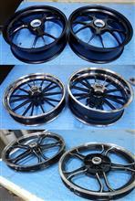 二輪ホイール修理からパウダーマットブラック丸塗り&リムポリッシュ&パウダーブラックポリッシュ3パターン