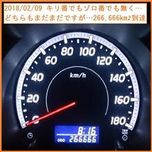 2018/02/09 キリ番でもゾロ番でも無く…どちらもまだまだですが…266,666km到達♪