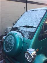 珍しく雪の日に、