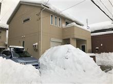 家の前の雪山。