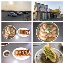 佐野ラーメン・ギョウザ麺龍 ハーフ&ハーフ+チャーシュー麺+大盛り+餃子。