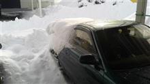 ドカ雪、新タイヤ慣らし少し。