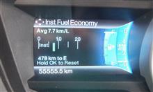 初車検での走行距離が偶然にも55555.5Kmでぃ。